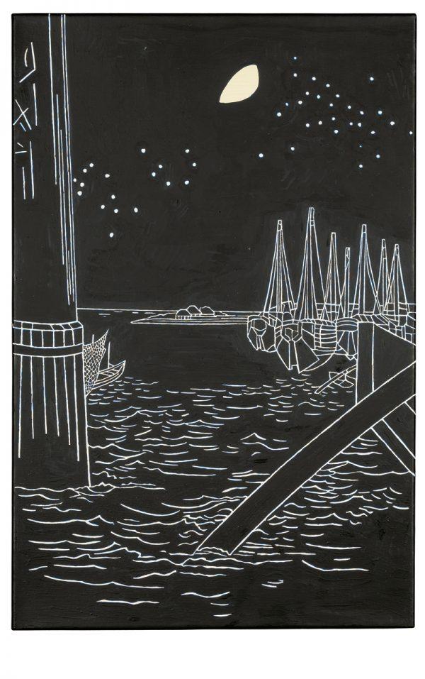 Udo Kaller |Die Fischerinsel Tsukada vor der Eitai-Brücke im Mondschein