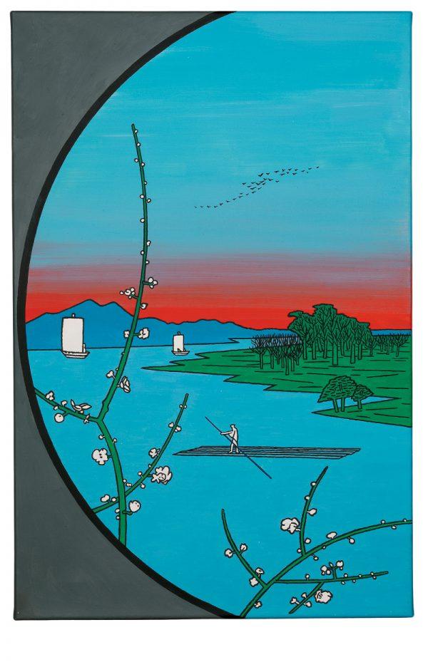 Udo Kaller   Blick aus einem Teehaus in die Abenddämmerung auf den Sumida-Fluss