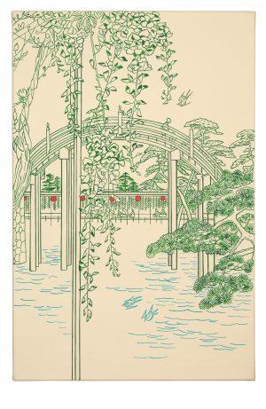 Udo Kaller | Trommelbrücke mit blühender Glyzinie im Shintō-Schrein Tenjin