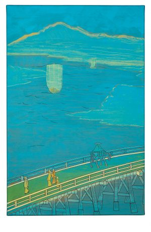 Udo Kaller | Die große Ōhashi-Brücke in Senju mit dem Berg Buko