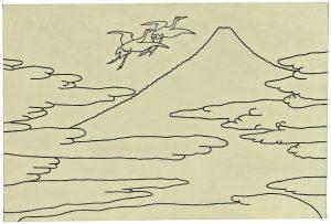Udo Kaller | Zwei Kraniche im Flug zum Fuji