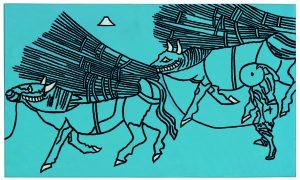 Udo Kaller | Zwei Ochsen mit Reisigbündeln